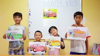 Hunter Kids Go To School Learn Colors CAR MCQUEEN | Classroom Funny Nursery Rhymes
