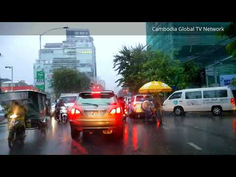 Compilation of Travel in Phnom Penh City Under the Rain With Sentimental Love Song