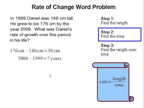 rate of change word problem youtube. Black Bedroom Furniture Sets. Home Design Ideas