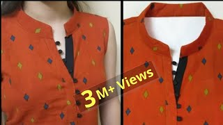 Collar Kurti Front Neck Design With V Placket || Neck Design || Easy Cutting and Stitching