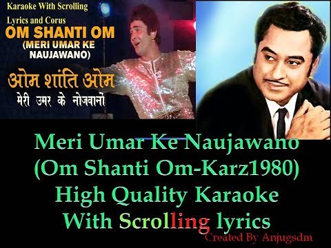 Meri Umar ke Naujawano || KARZ 1980 || karaoke with scrolling lyrics (High Quality)_With Chorus