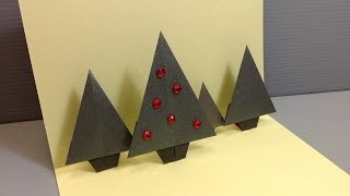 Origami Christmas Forrest Pop-up Card - Handmade Cards