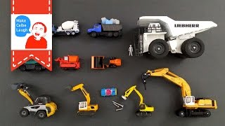 Learning Construction Vehicles Names for kids with tomica 2015 siku lego