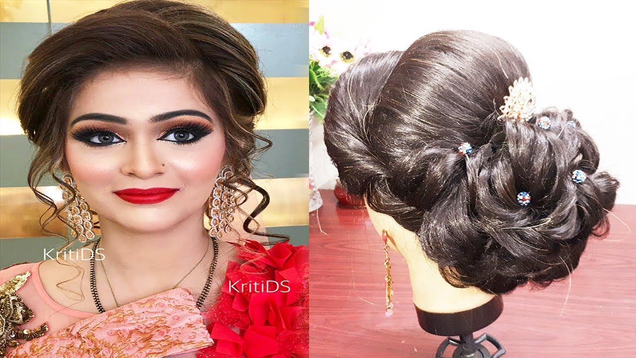 Indian Bridal Hairstyle For Medium And Long Hair Engagement Hairstyle Wedding Hairstyle