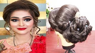 INDIAN BRIDAL HAIRSTYLE FOR MEDIUM AND LONG HAIR🌟 ENGAGEMENT HAIRSTYLE /WEDDING HAIRSTYLE