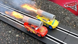 Rocket powered Disney Cars 3 Toys Carrera GO Lightning McQueen vs Cruz Ramirez !!