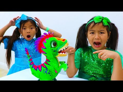 Emma & Jannie Pretend Play with Pet Dinosaur Toy for Kids
