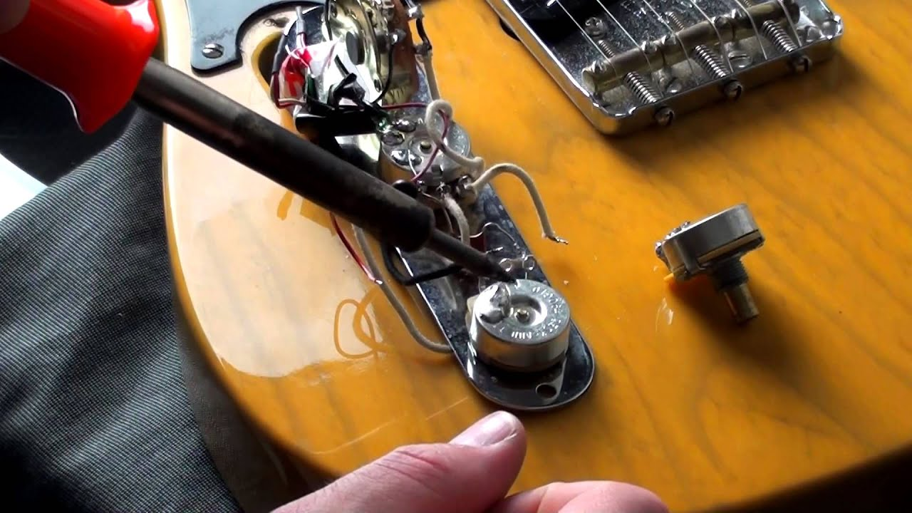 how to replace a fender telecaster cts volume or tone pot (for beginners)