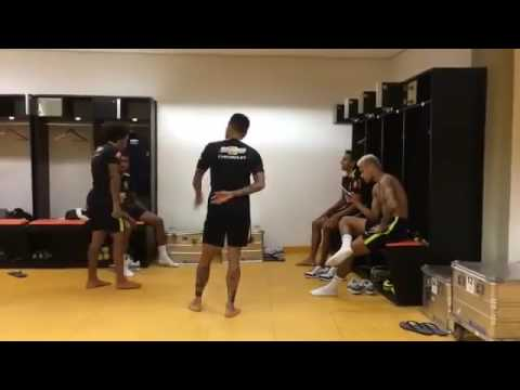 Neymar JR Caught dancing to at night I think of you with Brazil teammates
