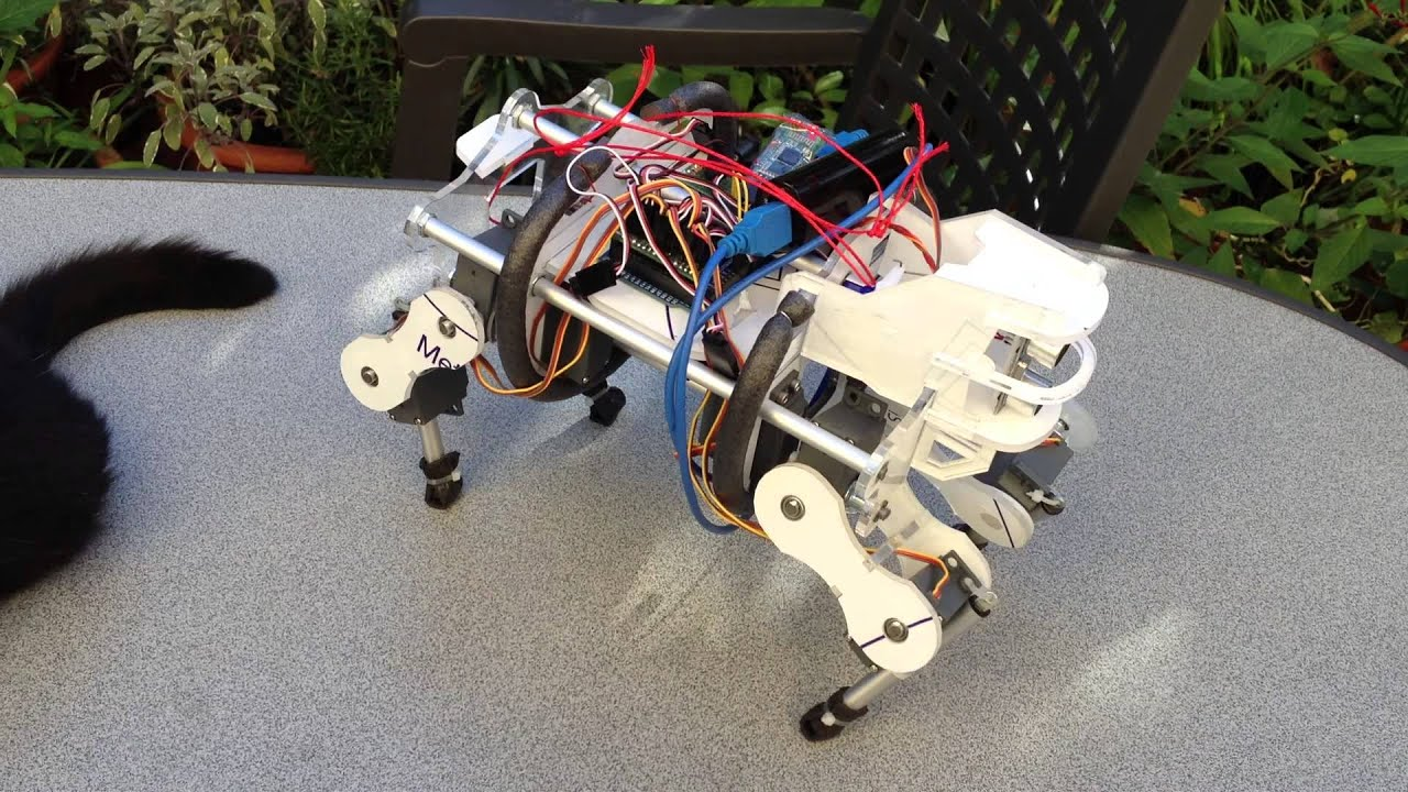 the enhancement of the quadruped robot The gait transition of a quadruped walking robot is the switching of gait with   upon the moving speed to enhance the efficiency of locomotion.