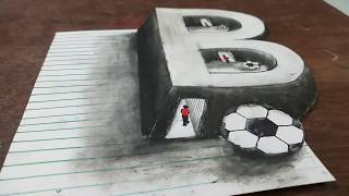 Drawing 3D Letter B : How to Draw  3D Trick Art - Optical Illusion - on Paper