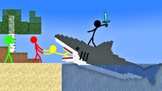 Stickman VS Minecraft: Shark in Swimming School - AVM Shorts Animation