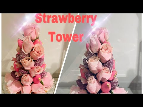 DIY DIPPED STRAWBERRY & ROSE TOWER WITH GOLD LEAFS
