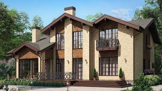 Проект дома в европейском стиле. Дом с эркером, сауной, террасой и балконом. Ремстройсервис М-297