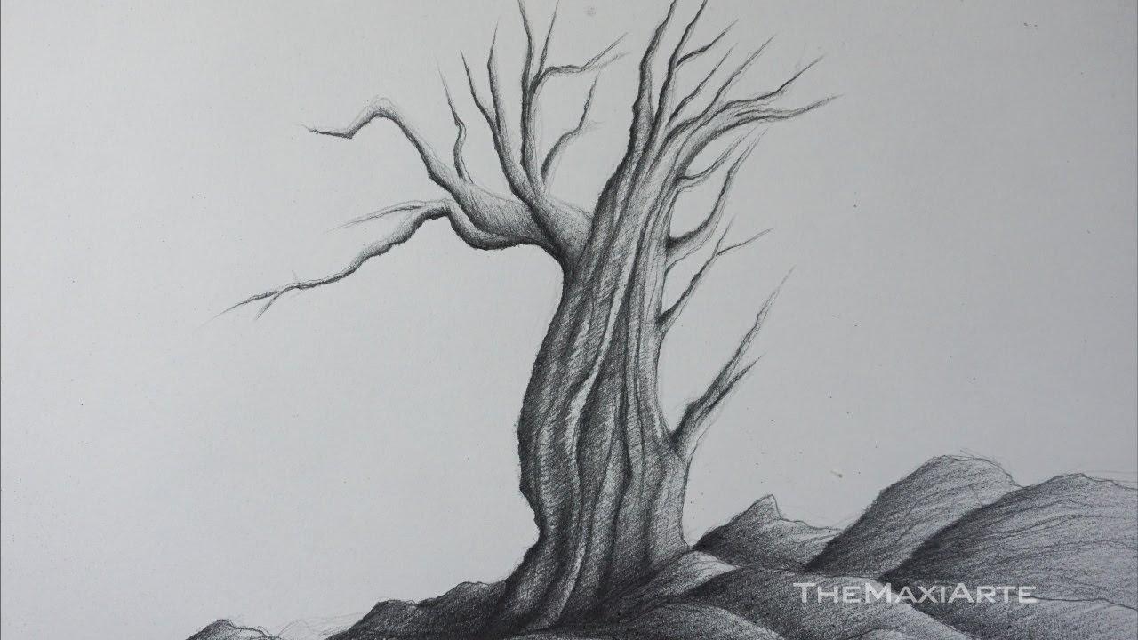 Cómo Dibujar Un árbol Seco A Lápiz Paso A Paso Y Fácil Tutorial