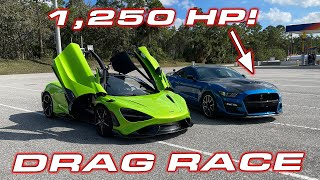 1,250HP GT500 CALLS OUT 765LT * McLaren 765LTs vs Ford Mustang Shelby GT500 from Palm Beach Dyno