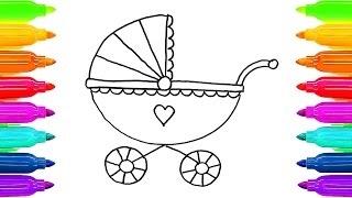 Como desenhar livro de colorir carro de bebê para crianças | Aprender colorir páginas com M colorido thumbnail
