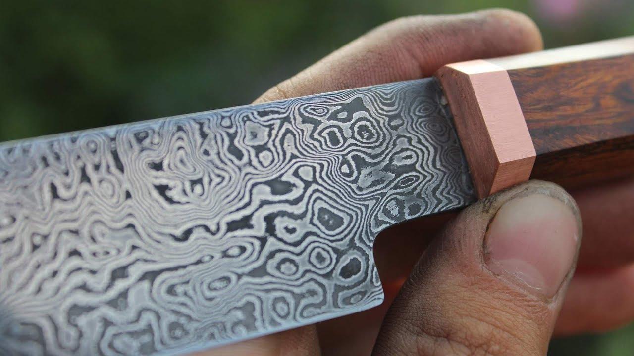Knifemaking ~ Damascus Sujihiki kitchen knife (forged using a ...