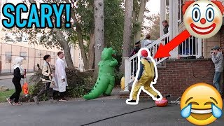 KILLER CLOWN SCARE PRANK ON TRICK OR TREATERS!