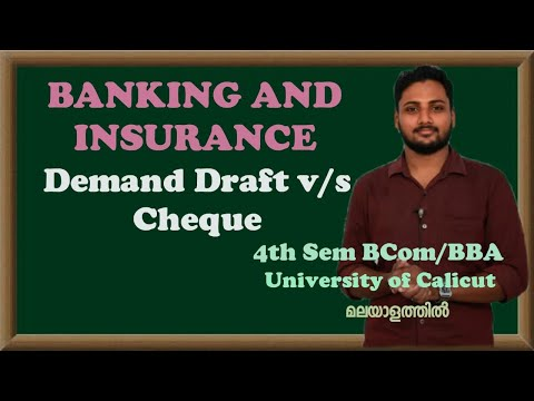 Demand Draft   Demand Draft v/s Cheque   Banking   Calicut University  Bcom/BBA  Malayalam