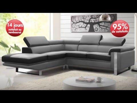 Canapé d\'angle en cuir MYSTIQUE - YouTube