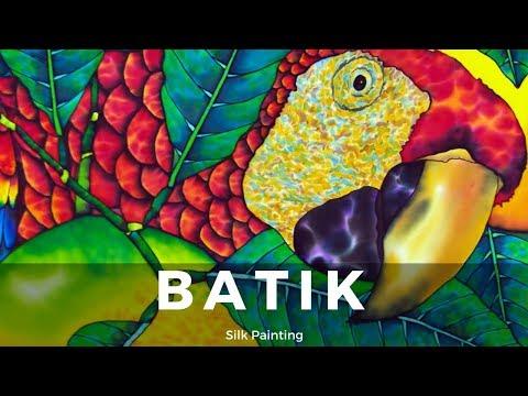 BATIK SILK PAINTING WITH JEAN-BAPTISTE – FINE ART –  SCARLET MACAW