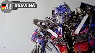 How I draw Optimus Prime (Transformers) - speed drawing