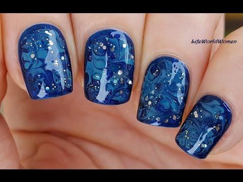 needle nail art 23 / sparkle blue marble nails  youtube