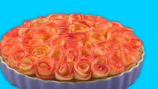 Apfel Torte mit Rosen - leichtes Back Rezept für eine bildschöne Apfeltarte