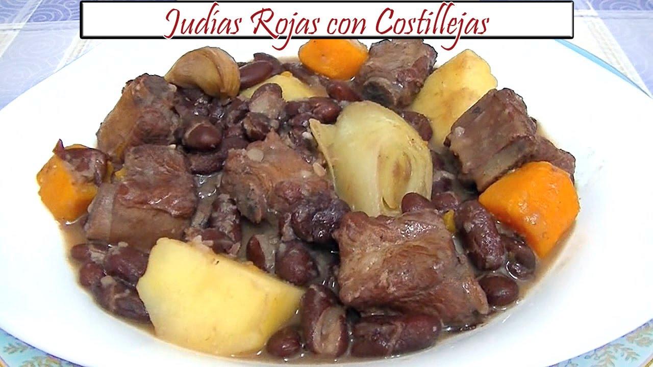Jud as rojas con costillejas receta de cocina en familia youtube - Alubias rojas con costilla ...