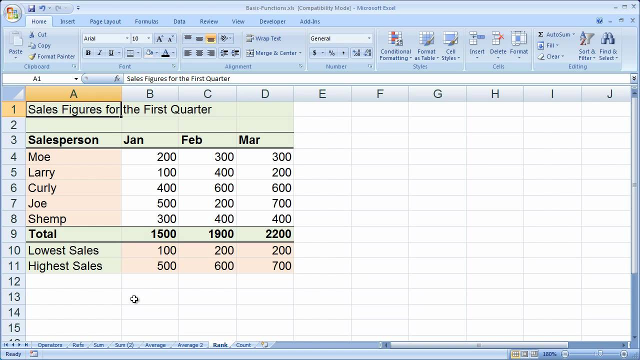 Using The Excel Range Functions