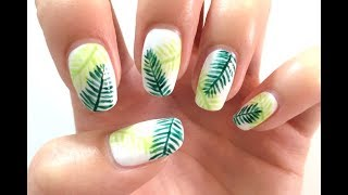 Palm Tree Leaves Nail Art