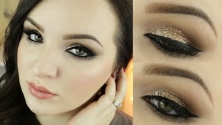 Holiday Gold Glitter Makeup Tutorial Ft. Revlon Eye Art Pen