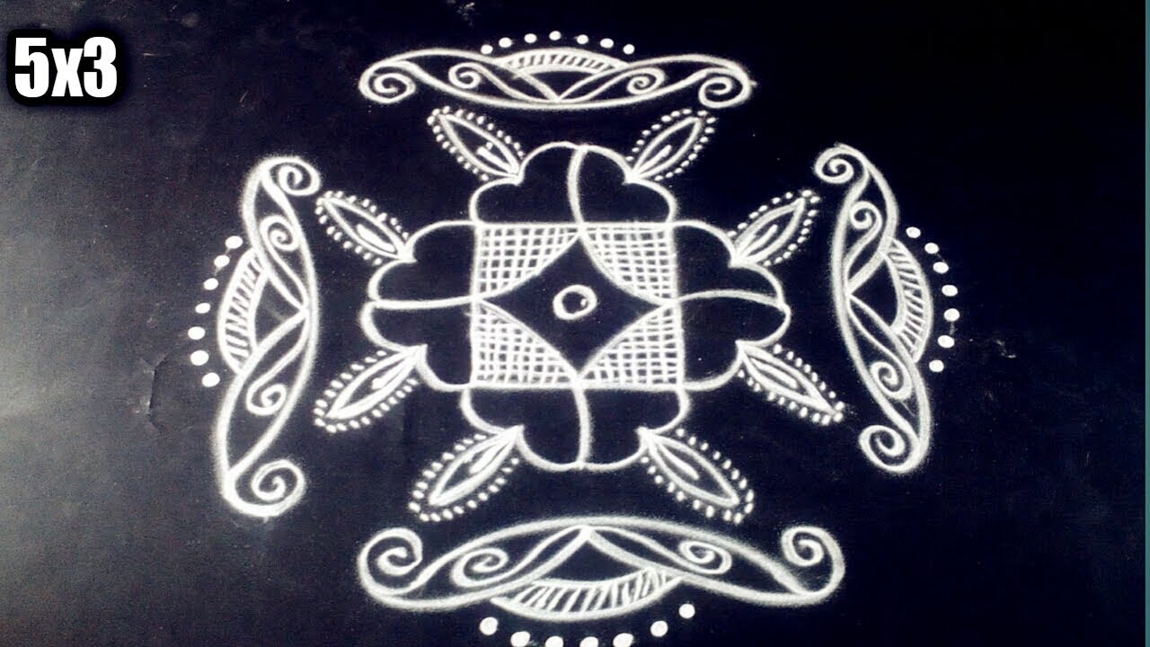small deepam rangoli design with 5*3 dots diwali (special)made easy to draw for beginners