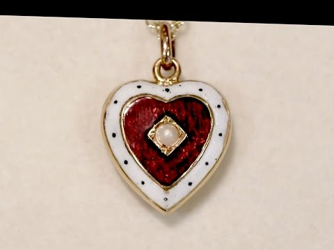 Seed Pearl,  Enamel, 15 ct  Gold Heart Pendant - Antique Victorian - AC Silver A1813