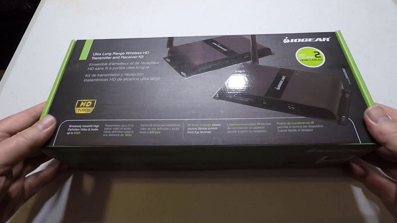 Iogear Ultra Long Range Wireless Hdmi Transmitter And Receiver Kit Video Audio Unboxing Review