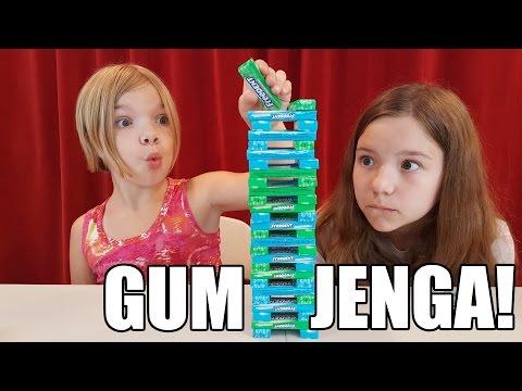 Chewing Gum Jenga Challenge game! | How To Candy | Babyteeth4