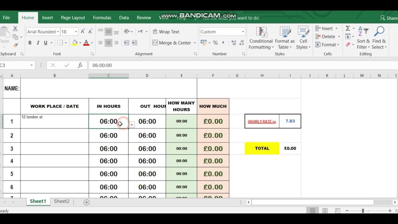work time sheet calculator youtube