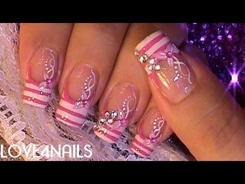 Uñas Decoradas Con Cristales Color de Rosa Videos De Viajes