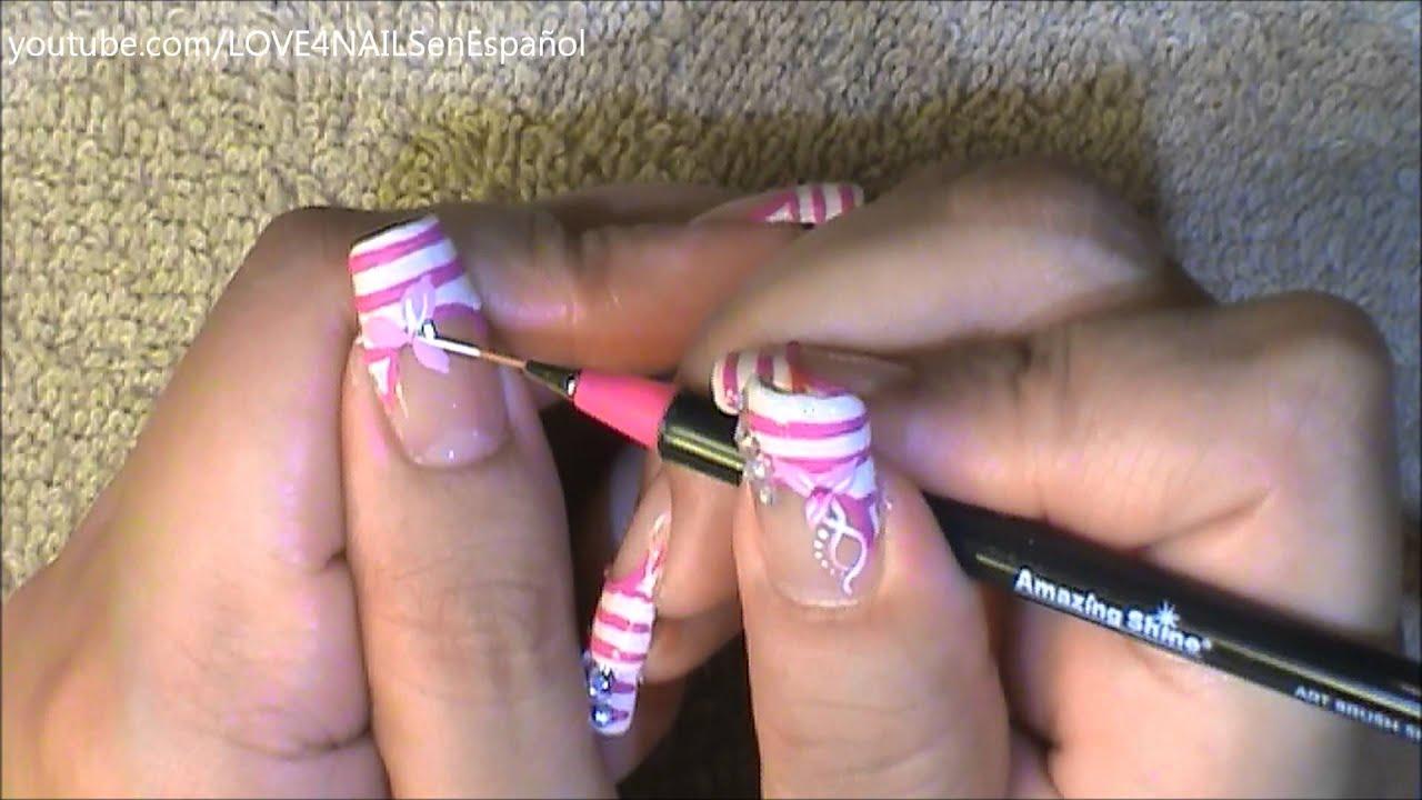 Uñas Decoradas Con Cristales Color De Rosa Youtube