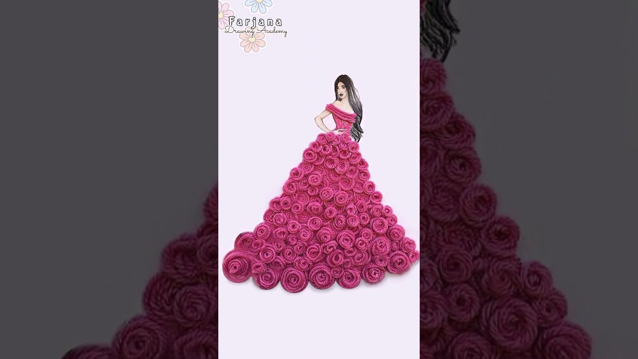 Satisfying Creative 3D Art | Girls with 3D beautiful dresses | Flower Fashion Illustrations #Shorts