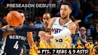Ben Simmons Full PS Highlights vs Grizzlies (10/4/2017) 6 Pts, 7 Rebs & 9 Asts - MAGICIAN!