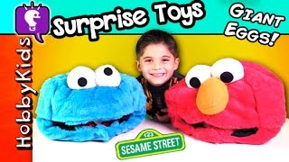 Biggest COOKIE MONSTER Elmo Surprise Eggs! Hero, MLP, Mystery Box HobbyKidsTV