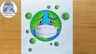 Drawing of Coronavirus / Save Earth from Corona Virus /Awareness Safety Poster