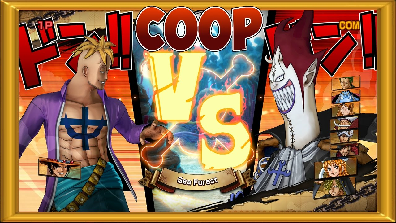 One Piece Burning Blood | 2 Players Coop 2 VS 9 | Marco and Ace vs 9 Randoms