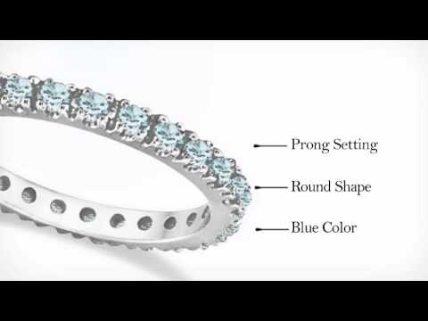 diamonds band ring gold eternity stacking aquamarine pin bands birthstones white wedding anniversary gift ctw