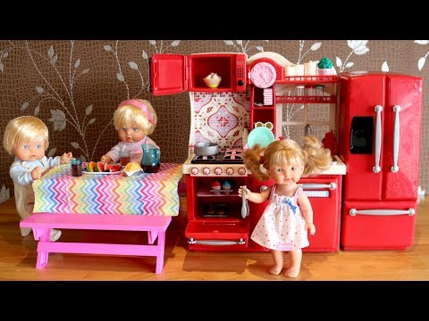 Thumbnail: Baby Doll Kitchen and Refrigerator Toys Play- Cooking Baking Eating Pretend Play Nursery Center