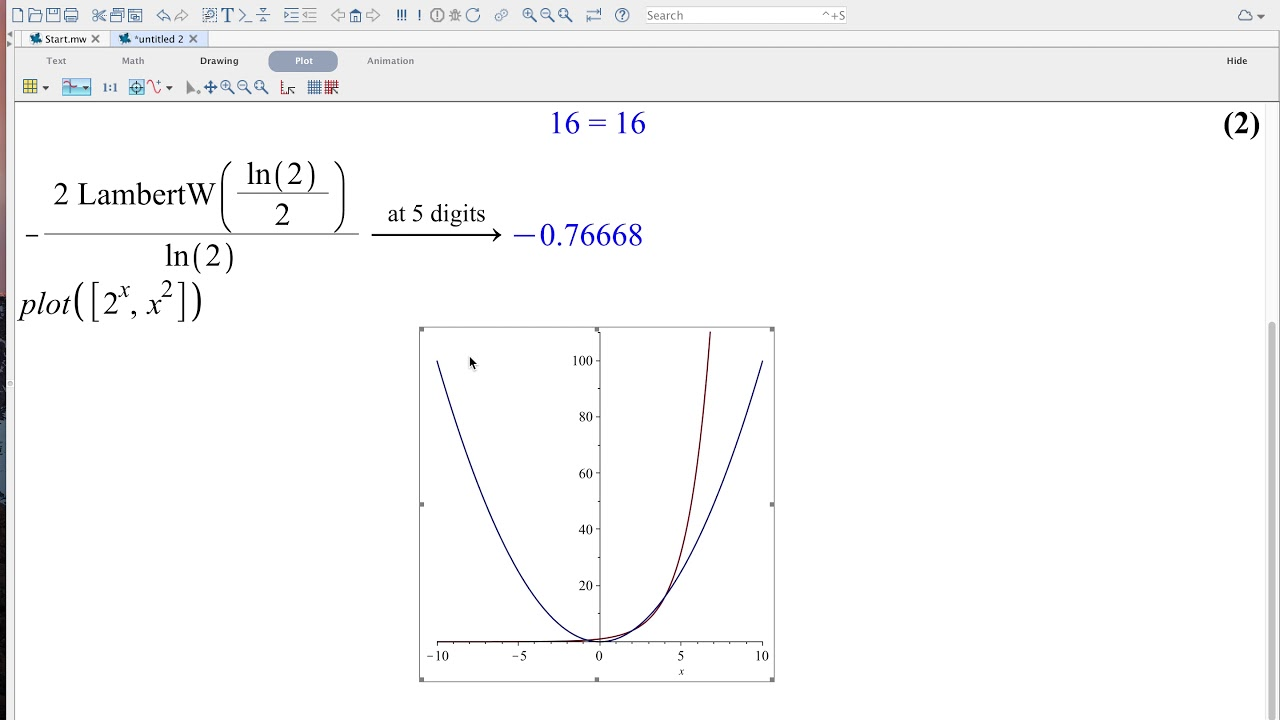 Problemstilling, 2^x=x^2