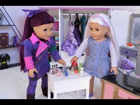 American Girl Doll Disney Descendants Mal Routine + the 3AM Slime Challenge!