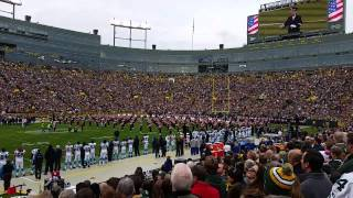 Wisconsin Marching Band playing the national anthem at Lambeau Field